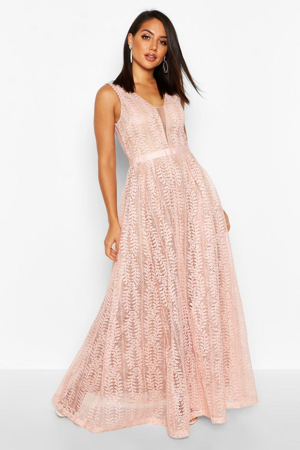 Boutique All Lace Plunge Neck Maxi Dress Boohoo