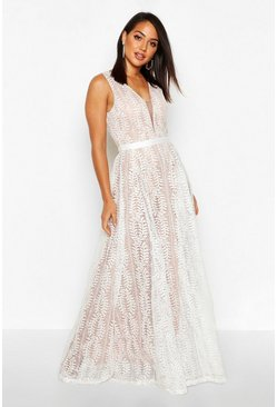 White Boutique  All Lace Plunge Neck Maxi Dress