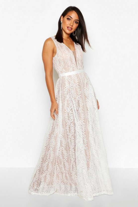 Womens White Boutique  All Lace Plunge Neck Maxi Dress