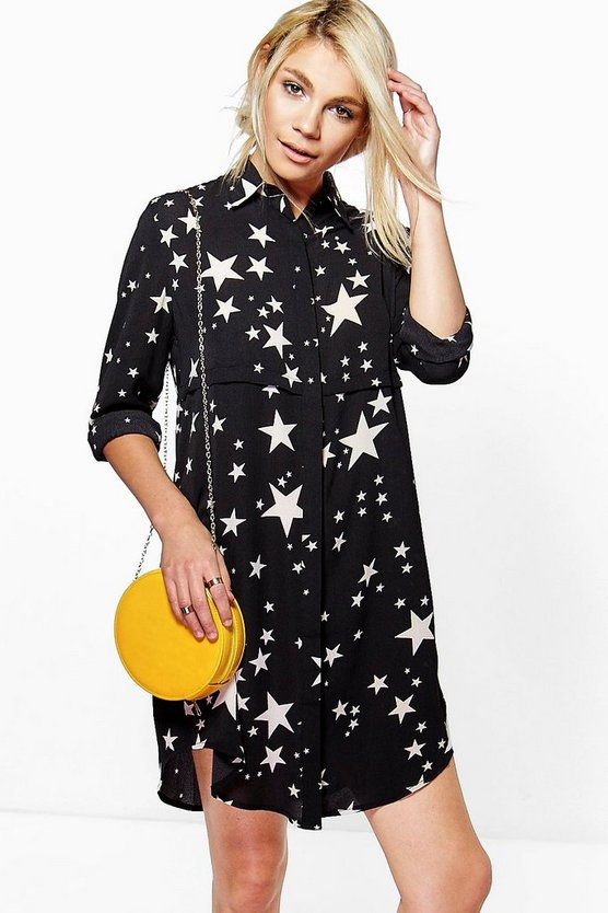 Bowie Star Print Shirt Dress