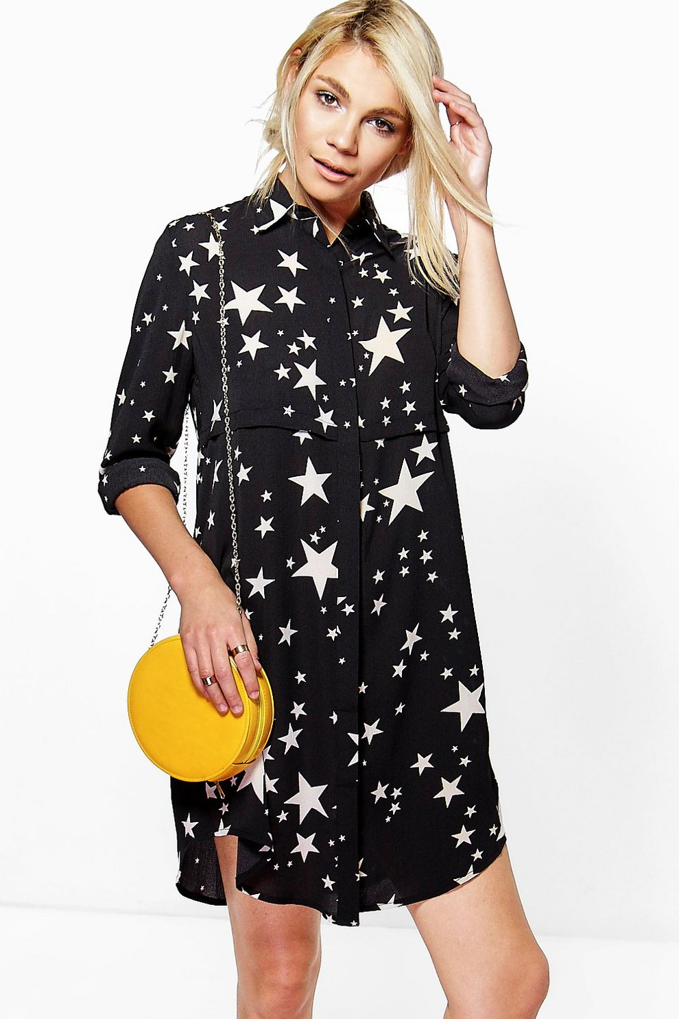4a72720f72 Womens Black Bowie Star Print Shirt Dress