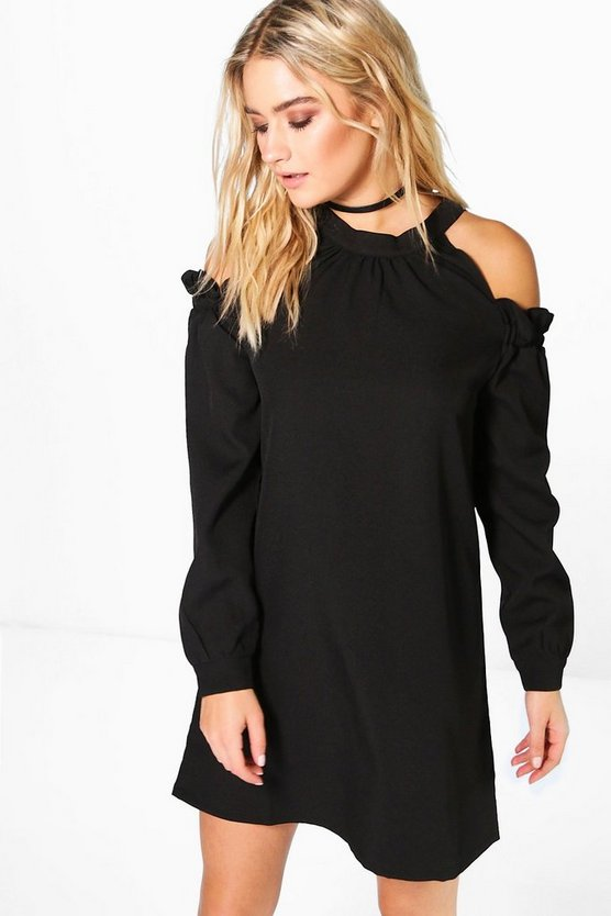 High Neck Ruffle A Line Shift Dress