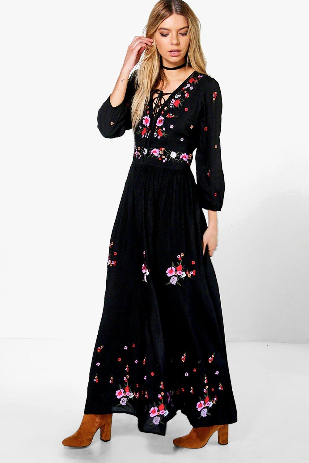 Boutique Embroidered Maxi Dress   Boohoo
