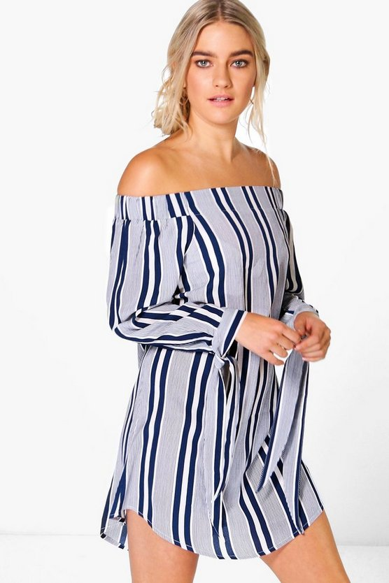 Womens Navy Karina Tie Off The Shoulder Dress