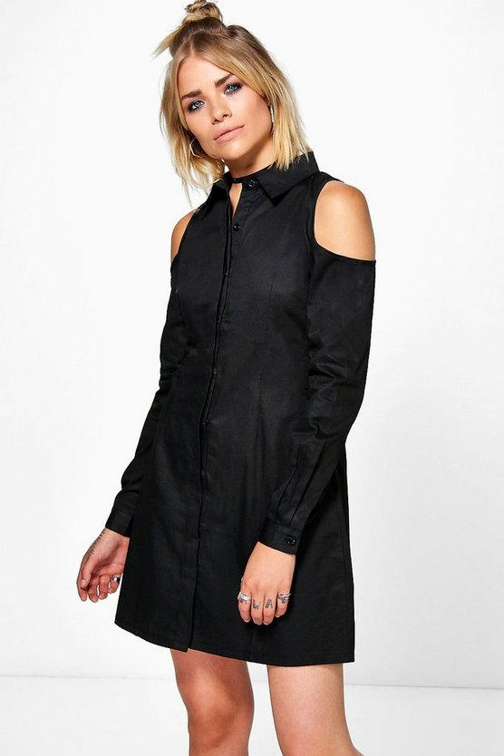 Allie Sleeveless Lace Up Back Shirt Dress