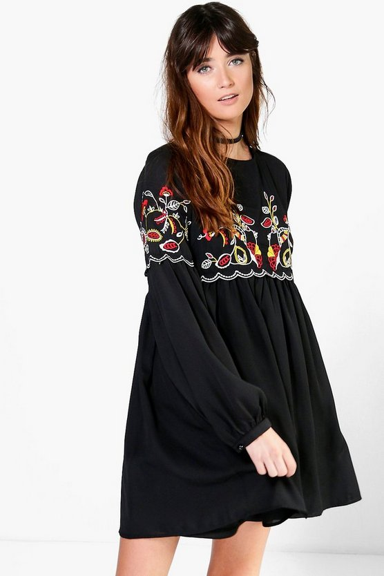 Ana Embroidered Smock Dress