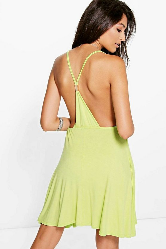 Womens Lime Jamie Strappy Back Detail Skater Dress