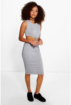 Womens Grey Kaela Knot Front Midi Dress