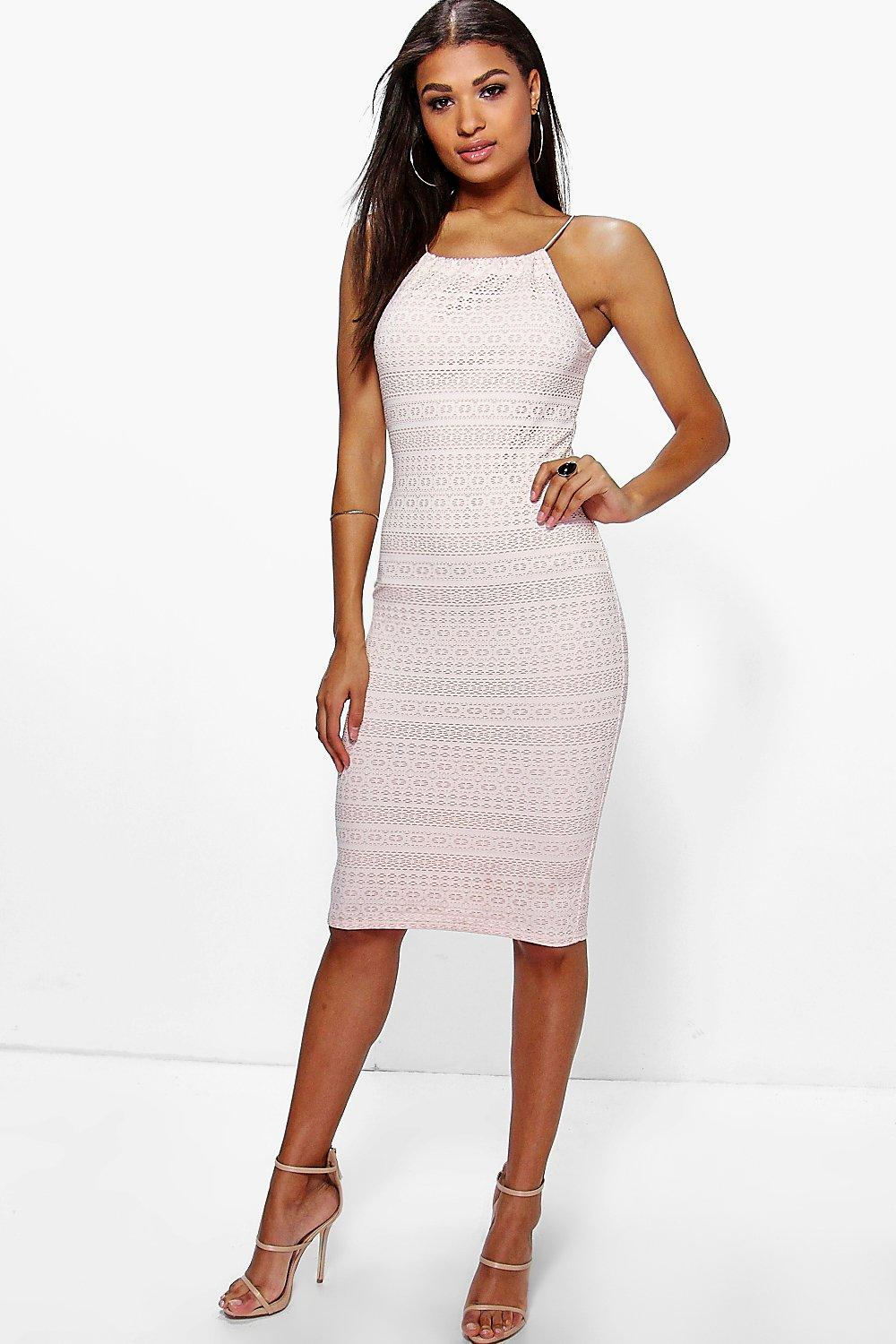 e43a652f0fb6 Womens Nude Carolina Crochet High Neck Midi Dress. Hover to zoom