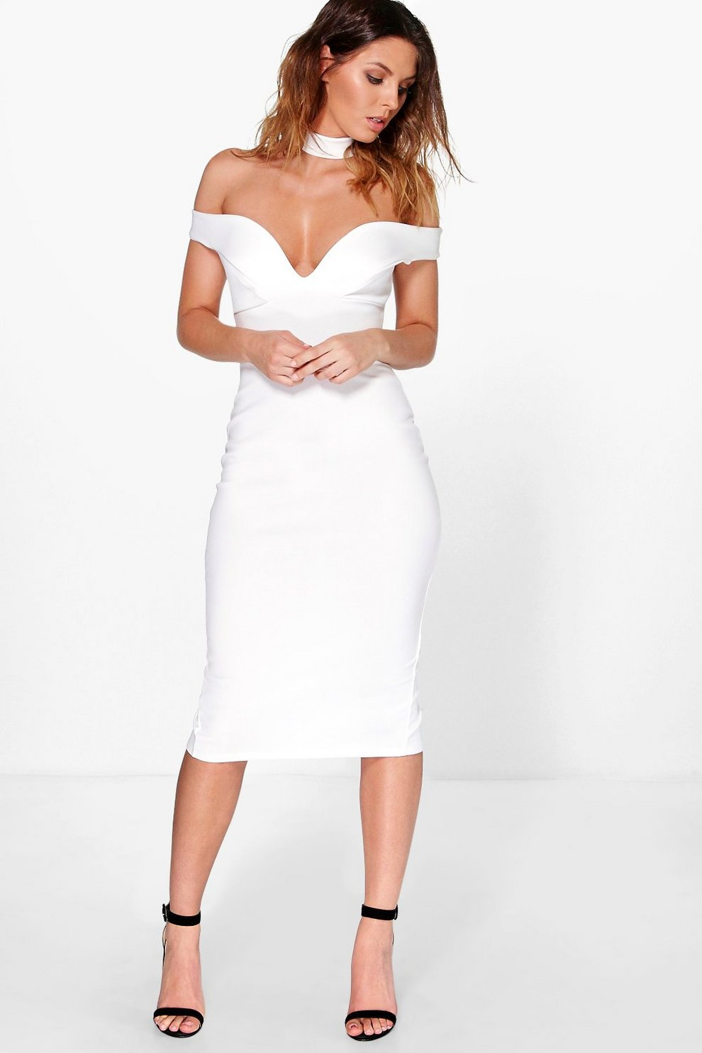 26f4a6493954 Womens Ivory Ara Sweetheart Off The Shoulder Midi Dress. Hover to zoom