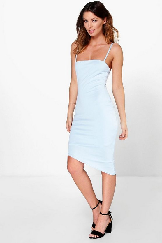 Ania Square Neck Asymmetric Hem Midi Dress