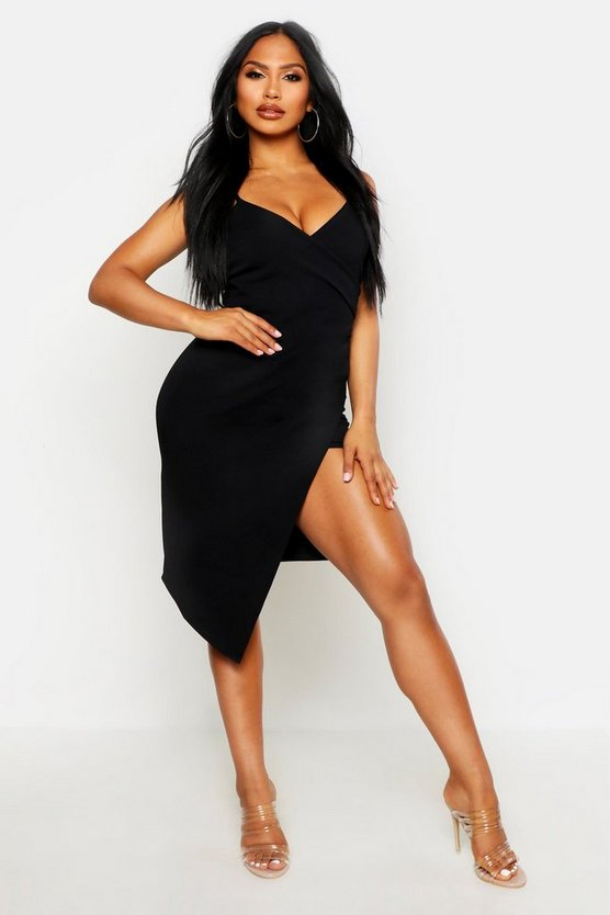 Womens Black Strappy Wrap Pleated Bodycon Midi Dress
