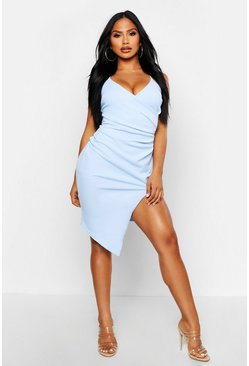 Womens Blue Strappy Wrap Pleated Bodycon Midi Dress
