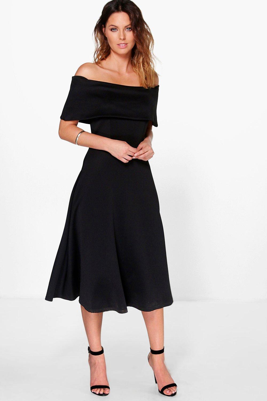 14d874fed40 Womens Black Off Shoulder Oversized Midi Skater Dress. Hover to zoom