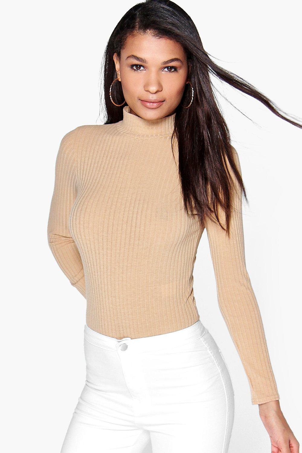 69adfd434 Details about Boohoo Ava Turtle Neck Long Sleeve Rib Knit Bodysuit