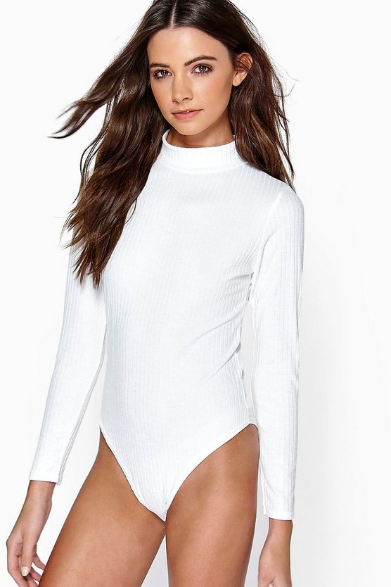 Turtle Neck Long Sleeve Knitted Rib Bodysuit