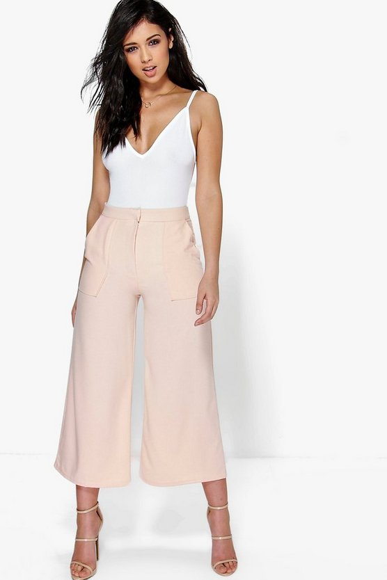 Pocket Front Wide Leg Cropped Woven Trousers