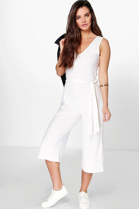 Womens Ivory Lottie Ribbed Culotte Self Belt Jumpsuit