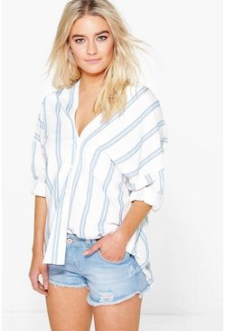 Womens Blue Striped Button Through Collarless Shirt