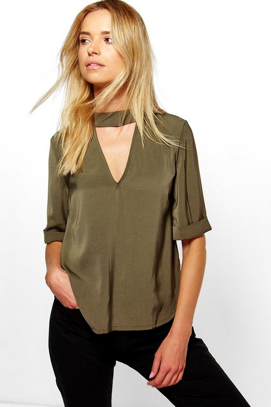 3/4 Sleeve Open Neck Blouse