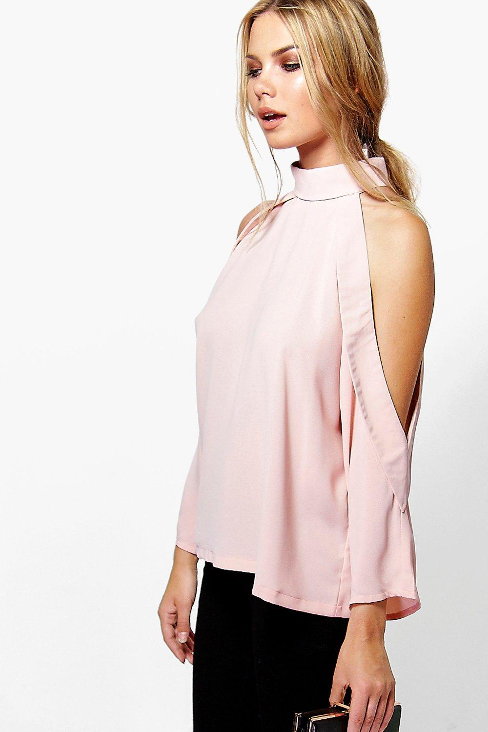 cffb7b34571ee5 Ruby Open Shoulder High Neck Blouse