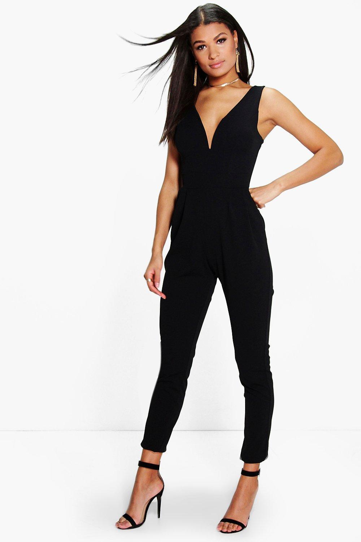 70s Jumpsuit | Disco Jumpsuits, Sequin Rompers Womens Plunge Skinny Leg Jumpsuit - Black - M $45.00 AT vintagedancer.com