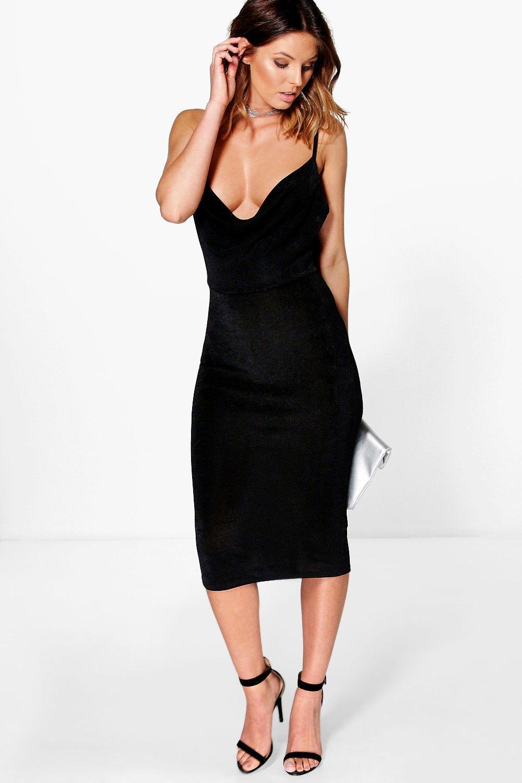 41b8c2455e134 Womens Black Bianca Textured Slinky Cowl Neck Midi Dress. Hover to zoom