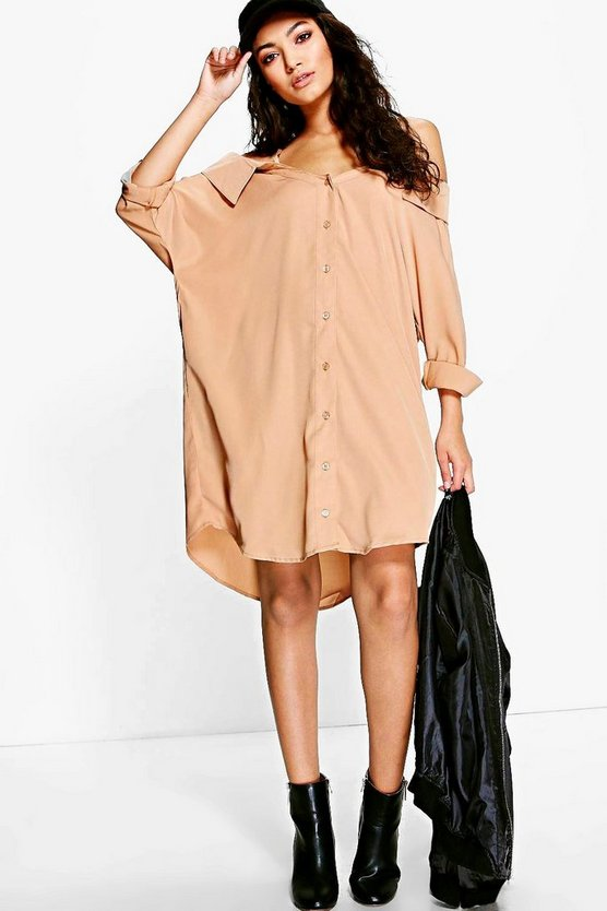 Cold Shoulder Collar Shirt Dress