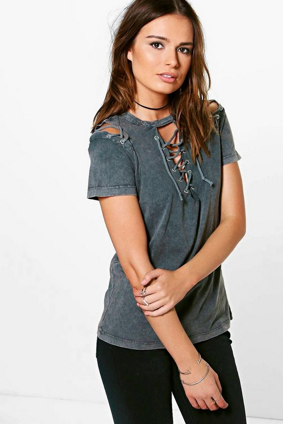 Womens Grey Lilly Washed Lace Up & Sleeve Tee
