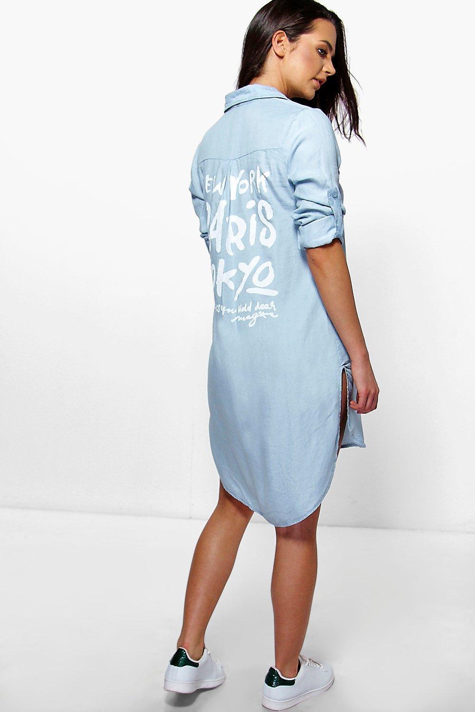 e289f3c0a7 Serena Back Print Longline Denim Shirt Dress