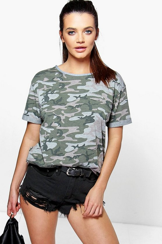Womens Oversized Camo T-Shirt