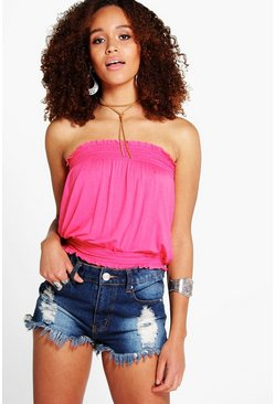 Womens Coral Millie Shirred Tube Top
