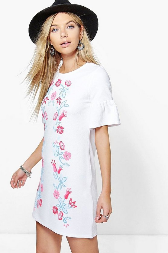 Womens White Ruth Printed Embroidery Bell Sleeve Shift Dress