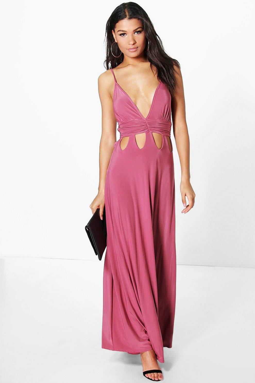 78e780d6906738 Womens Rose Ari Gathered Waist Cut Out Detail Slinky Maxi Dress