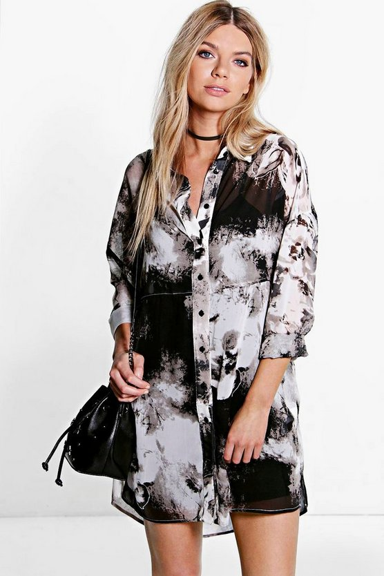 Clara Monochrome Print Woven Shirt Dress