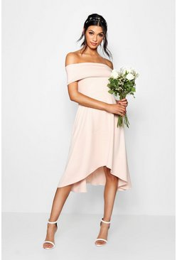 Womens Peach Off The Shoulder Dip Hem Skater Dress