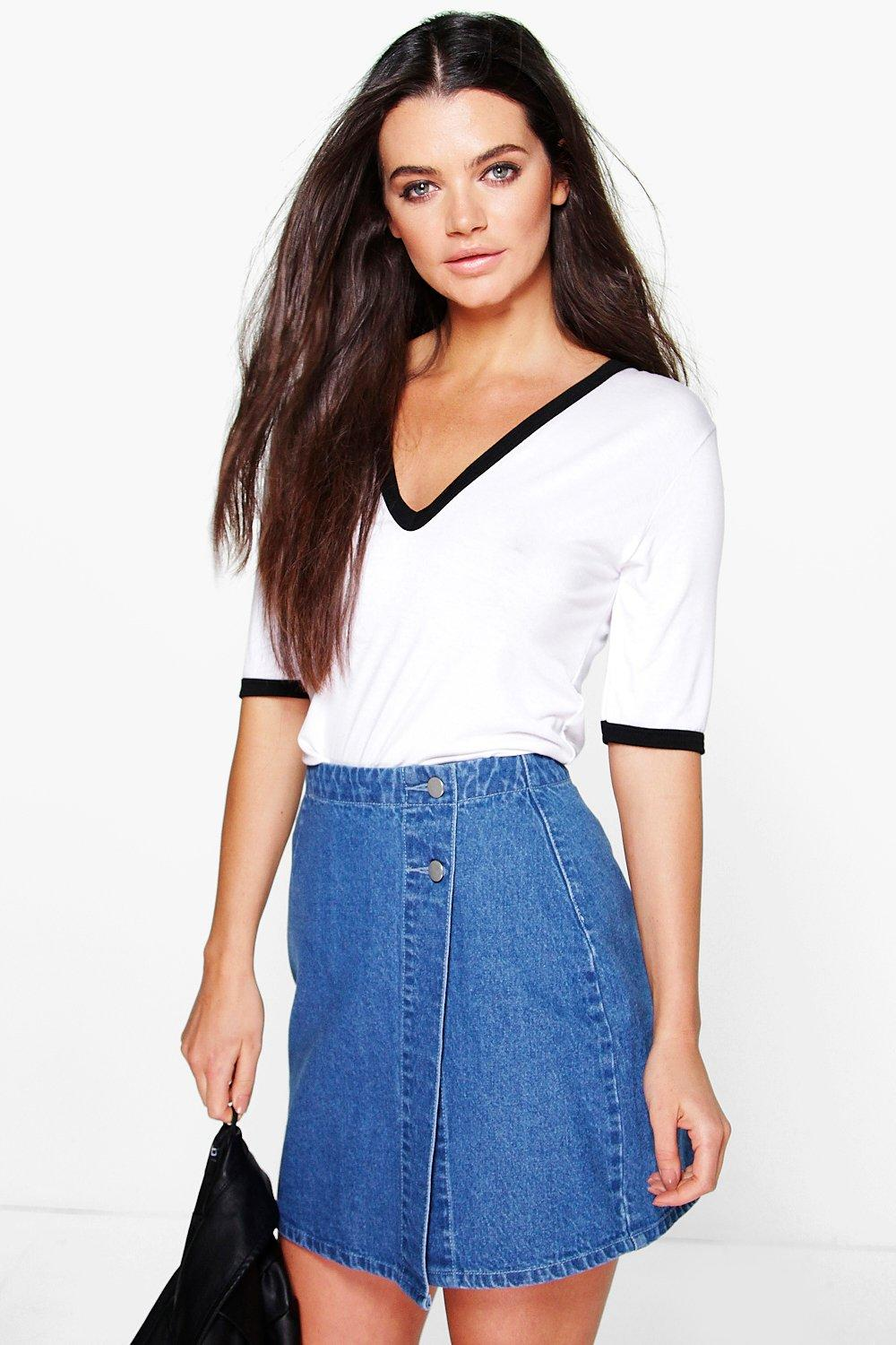 f2ea954d4094 ... Wrap Front Denim Skirt. Hover to zoom