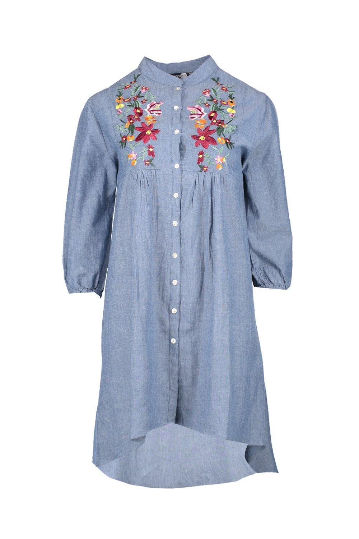 boohoo womens ana embroidered denim shirt dress in mid