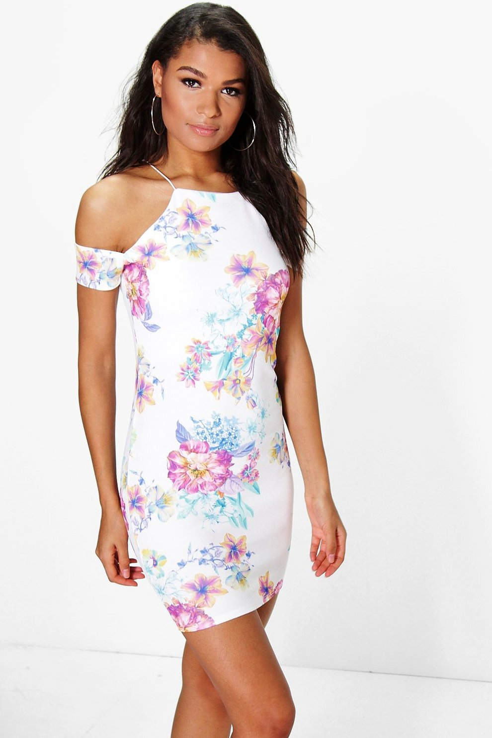 94ce9953210f Thea Floral Cold Shoulder Strappy Bodycon Dress | Boohoo