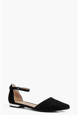 Womens Black Caroline Two Part Pointed Ballet