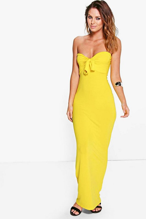 Womens Yellow Phillis Bandeau Bow Maxi Dress