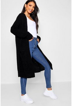 Black Oversized Boyfriend Cardigan