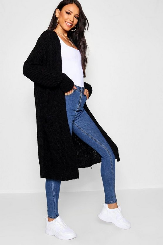 Womens Black Oversized Boyfriend Cardigan