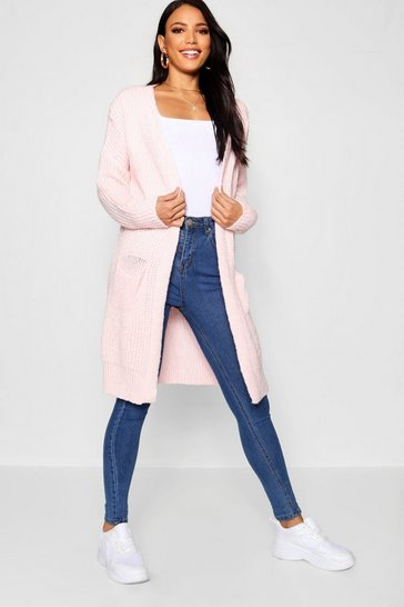 Womens Blush Oversized Boyfriend Cardigan