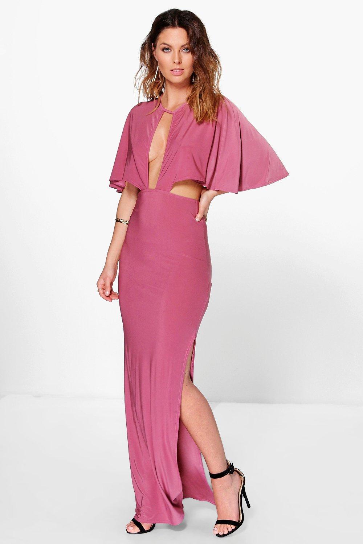 vestido largo estilo capa con detalle de aberturas gigi | Boohoo