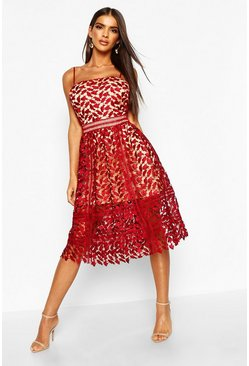 Womens Berry Corded Lace Detail Midi Skater Dress
