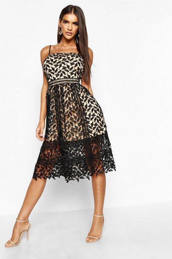 Womens Black Corded Lace Detail Midi Skater Dress
