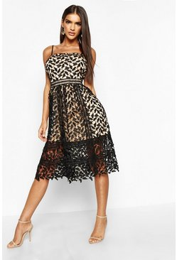 Black Corded Lace Detail Midi Skater Dress