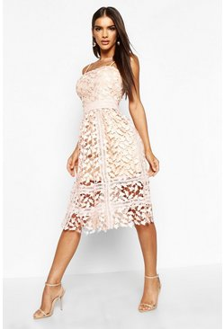 Womens Blush Corded Lace Detail Midi Skater Dress