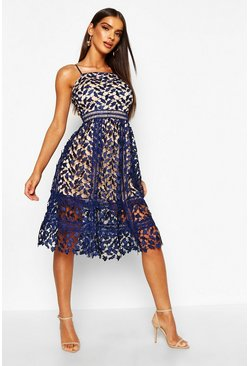 Womens Navy Corded Lace Detail Midi Skater Dress